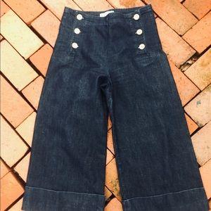 Habitual L. A Dark Wash Crop Sailor Button Jeans